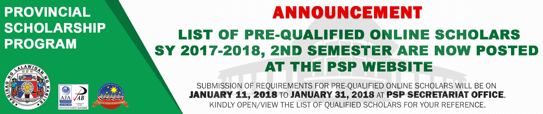 List of Pre-Qualified Online Scholars SY 2017-2018, 2nd Semester are now posted at the PSP Website