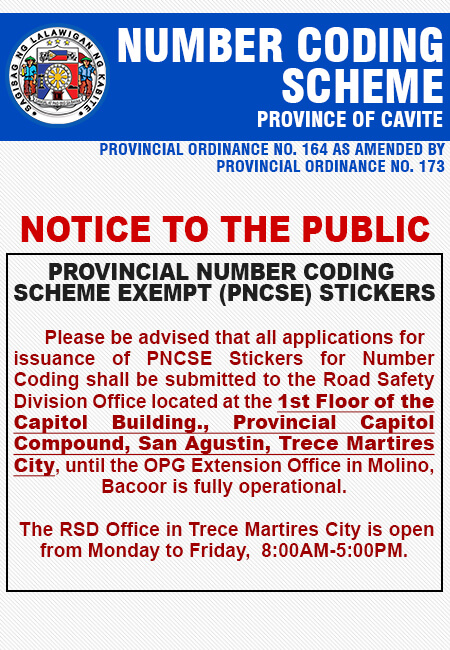 Number Coding Scheme Ordinance Of The Province Of Cavite