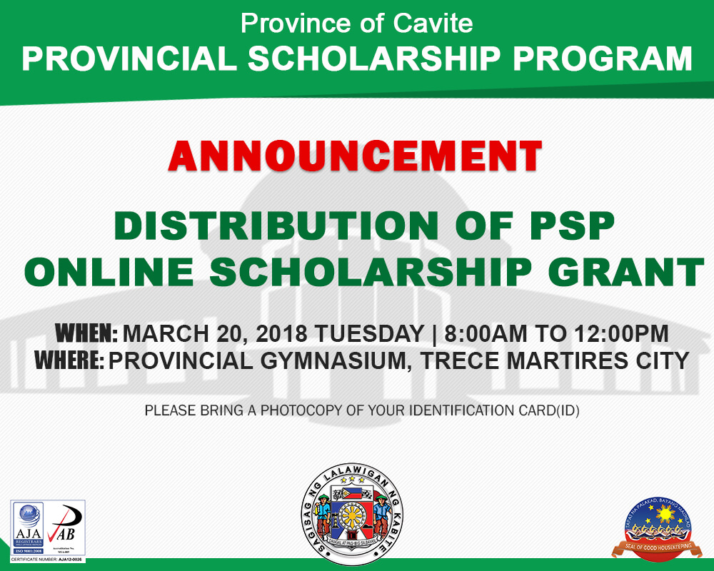 Distribution of PSP Online Scholarship Grant